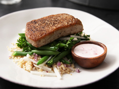 Seared Tuna & Green Bean Salad with Ginger-Ranch Dressing