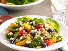 Summer Fruit & Quinoa Spinach Salad